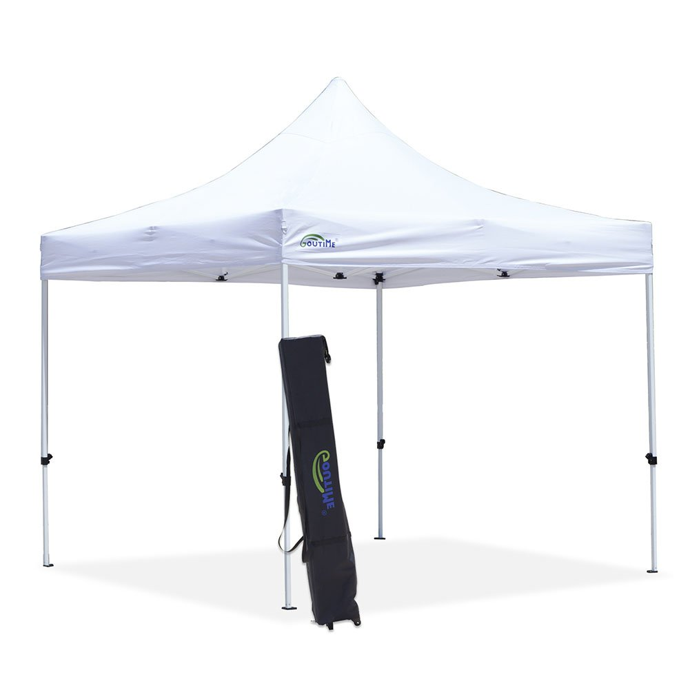 Goutime Canopy Tent 10x10 Commercial Grade Pop Up Canopy Tents for Parties Trades Shows, Ez Up 10x10 Canopy with Wheeled Bag Waterproof White