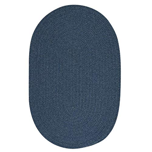 1 Piece 9' x 12' Oval Traditional Textured Solid Reversible Braided Rug, Classic Plush Synthetic Polypropylene Wool Rug, Charming Accent Indoor Border Solid Pattern Latex Free Federal Blue Rug
