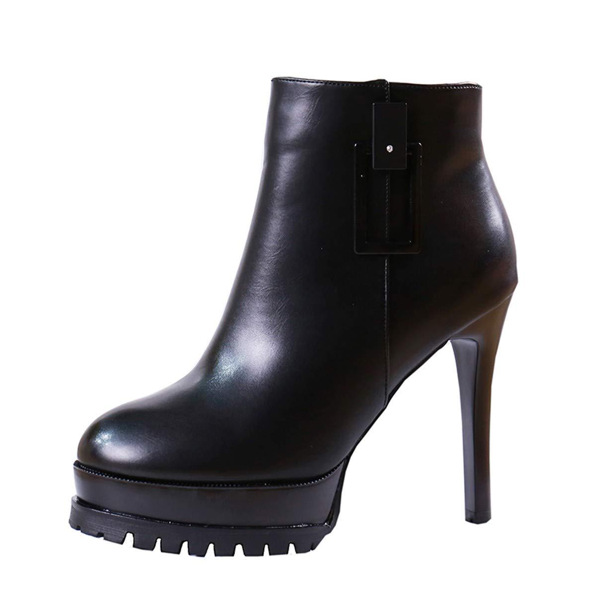 LBTSQ-Trendy Wasserdichte Plattform Martin Stiefel 11Cm Kurze Stiefel Runden Kopf Dünnen Absätzen Schuhe Mit Hohen Absätzen.