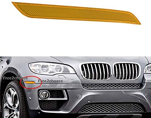 Left Side Yellow Front Bumper Reflector Side Marker Reflector Light Lamp For X6 E71 E72 2007-2014 Free2choose