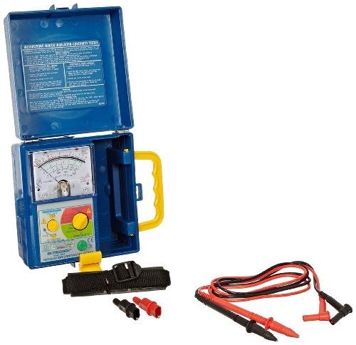 B&K Precision 307A Analog Megohmmeter Insulation and Continuity Tester, 250/500/1000V Test Voltages, 400 Megohms Insulation Resistance, 500 Ohms Low-Resistance, 600V Voltage Detection