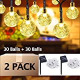 Aluvee 2pack 19.7ft/30LED Solar String Lights Fairy Warm White Bubble Ball String Lamps for Outdoor Christmas Home Patio Lawn Garden Party Wedding Holiday Decorations