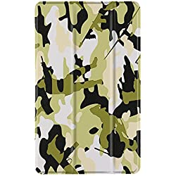 TNP Slim Case for All-New Amazon Fire 7 Tablet (7th Generation, 2017 Release), Ultra Lightweight Slim Shell Standing Cover with Auto Wake / Sleep (Camouflage Green)