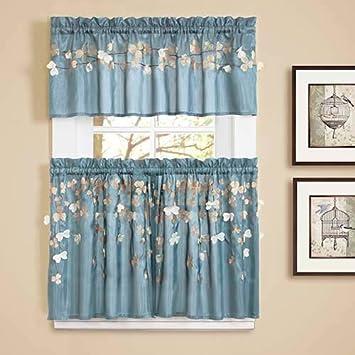Lush Decor Flower Drops Window Kitchen Tiers 24 By 29 Inch Blue
