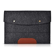 Laptop Bag - SODIAL(R)Felt Sleeve Handle Laptop Sleeve Pouch Cover Bag for iPad 2 3 4 iPad Air mini Case, Dark gray 11 inch