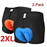 3D Padded Bicycle Cycling Underwear Shorts Elastic Anti-Slip Breathable Comfortable Lightweight MTB Bike Underpant Gel Unisex Blue and Orange(Set of 2) (2X-Large(37-39'))