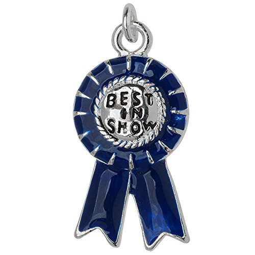 Beadaholique Silver Plated and Enameled Charm, Best in Show Blue Ribbon 23x11.8x3mm, 1 Piece, Dark Blue