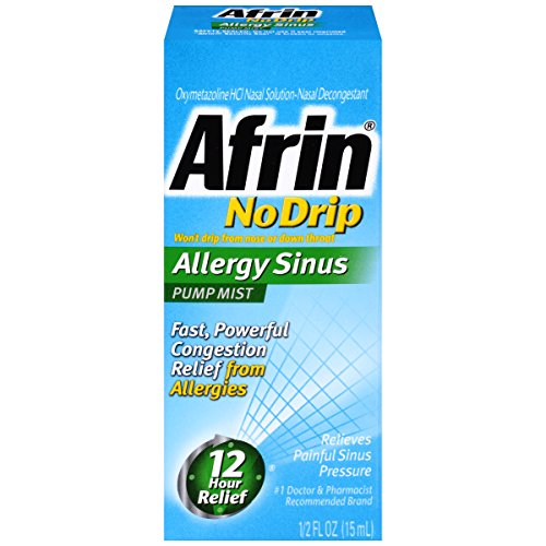 Hr Nasal 12 Spray (Afrin No Drip Allergy Sinus Pump Mist, Nasal Spray 1/2 oz)