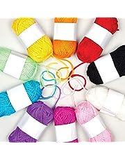 Baker Ross AG238 Kleurrijk garen voor breien, haken en decoreren (10 bollen)
