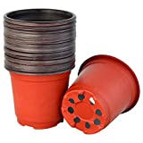 Yookat 100 Pcs 4 Inch Plastic Plants Nursery Pot/Pots Seedlings Flower Plant Container Seed Starting Pots Planter Transition Pot Round Lightweight Washable Gardening Supplies