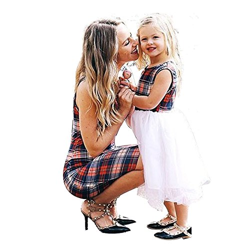 PopReal Mommy and Me Short Sleeve Plaid Tulle