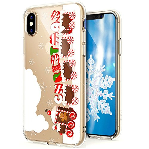 Funda iPhone X?SainCat Navidad copo de nieve serie Moda Alta Calidad suave de TPU Silicona Suave Funda Carcasa Caso Parachoques Diseño pintado Patrón paraiPhone X [Serie de Navidad] TPU Silicona Flexi Tren de navidad
