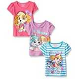 Paw Patrol Little Girls' 3 Pack T-Shirts, White, 6