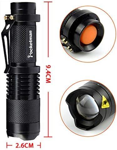 POCKETMAN Mini-lampe de poche 7W 300 Lumens Portable Mini-Q5 lampe tactique /à