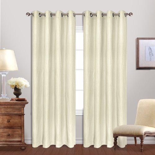 United Curtain Hamden Woven Waffle Window Curtain Panel, 54 by 84-Inch, Ivory