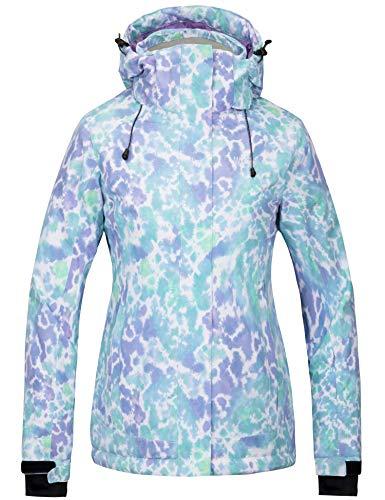 Wantdo Women's Waterproof Ski Jacket Colorful Printed Fully Taped Seams Rain Coat Warm Winter Parka