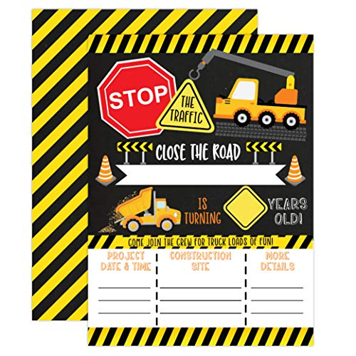 Construction Boy Birthday Invitations, Dump Truck Party Invites, 20 invitations and envelopes ()