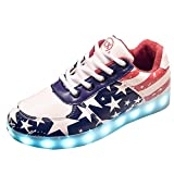 Gaorui Women LED Light Luminous Sneaker Fluorescence Unisex Athletic Shoes USB Charge With Ear Ring as a Gift