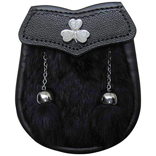 (AAR Brand New Boy Sporran with Shamrock Badge 2 Tassels (Black Fur))