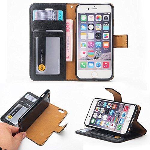 JIALUN-carcasa de telefono Crazy Horse textura de diseño desmontable PU de cuero de la cartera Funda de la bolsa con ranuras de tarjeta para el iPhone 6 Plus y 6s Plus ( Color : Black ) Black