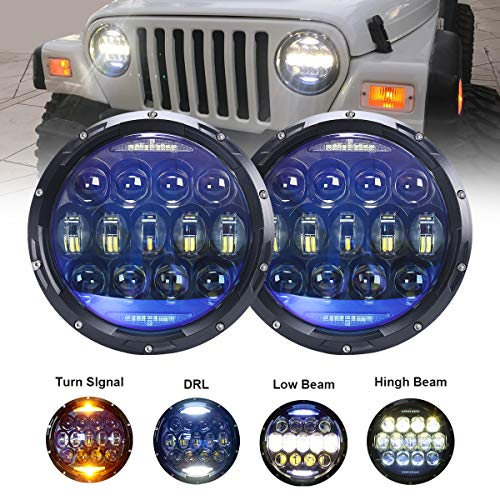 Demon Style Body Kit - 130W Exclusive Blue Projector Lens Brightest 7 inch LED Headlights Amber Turn Signal/DRL Bulbs Kit for Jeep Wrangler JK LJ JKU TJ CJ Sahara Rubicon Freedom Dragon Edition Unlimited Headlamps