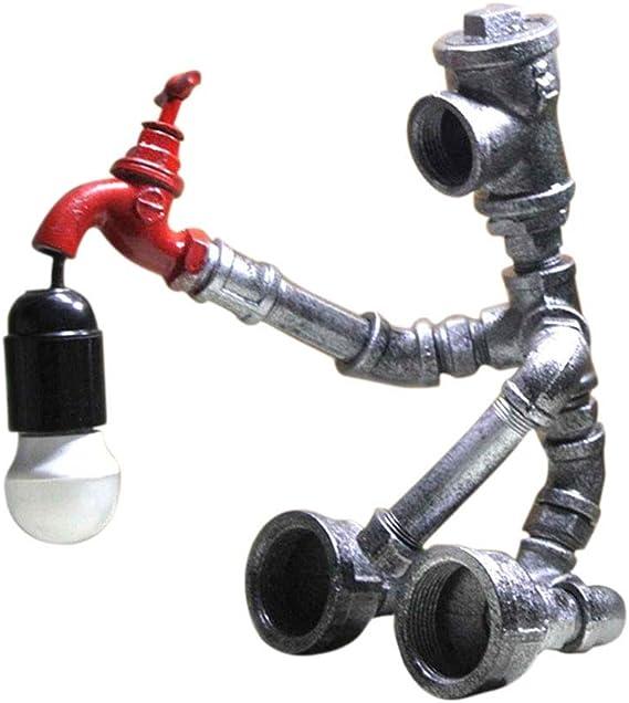 Unknow Inicio Moderna lámpara de Escritorio Caño de Agua Robot Industrial lámpara de Mesa del Viento Retro decoración de la Cama Tabla Personalizada lámpara de Escritorio Mesita de Noche de la luz: