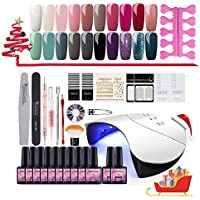 Coscelia 20PC Nail Gel Polish Kit 36W White LED Curing Nail Lamp Top coat and Primer French Nail Sticker Nail Manicure Tools Set #20B