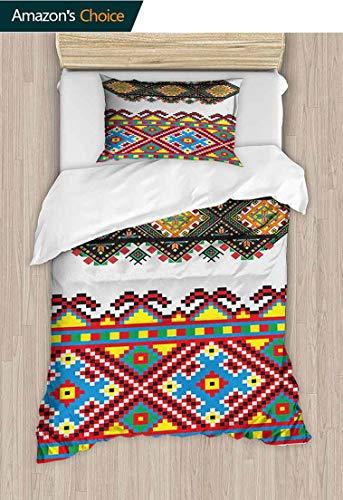 PRUNUS-Home Bedspread Set Queen Size,Retro Ukrainian Embroidery Ornament Traditional Cultural Folk Heritage Artful Design Kids Bedding-Does Not Shrink or Wrinkle 47