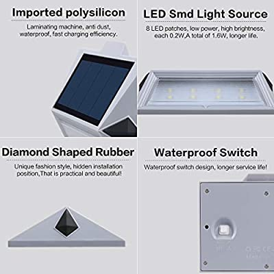 Roopure Newest Version Warm 8 Led Warm White Solar Deck Lights Outdoor Decorative Solar Step Lights Waterproof Lighting For Stair Garden Wall Paths Patio Decks Auto On Off 4 Pack Amazon Sg Home