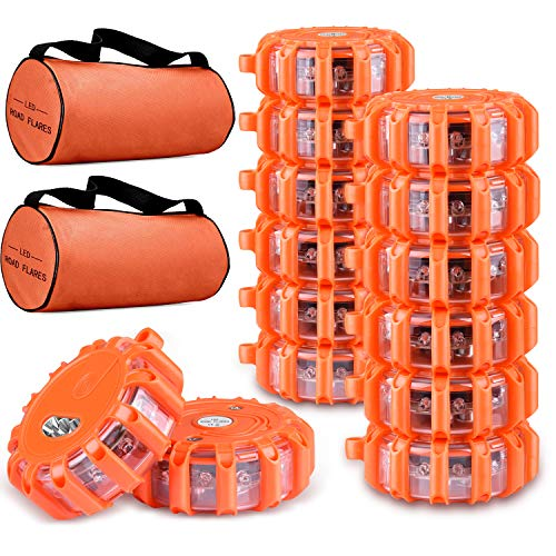 Tobfit 12 Pack LED Road Flares Emergency Lights Roadside Safety Beacon Disc Flashing Warning Flare Kit with Magnetic Base & Hook for Car Truck Boats | 9 Flash Modes (Batteries Not Included) (12)