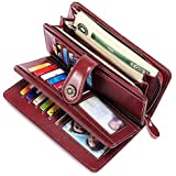 FALAN MULE Women's Wallets Genuine Leather RFID Blocking Large Capacity Trifold Ladies Wallet
