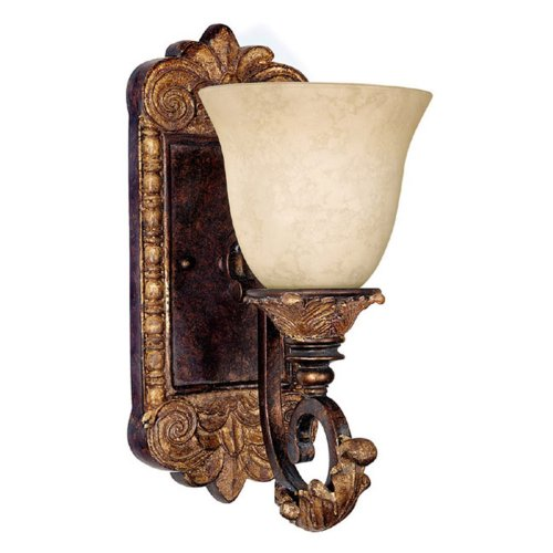 Capital Lighting 1461GL-276 1-Light Wall Sconce, Bronze with Gold Leaf Finish with Rust Scavo Glass (1 Finish Rust Bulb)