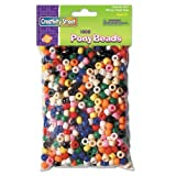 Chenille Kraft 3552 - Pony Beads, Plastic, 6mm x 9mm, Assorted Colors, 1000/Pack