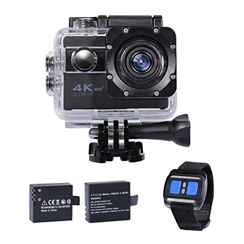 Action Camera 4K, Wifi Underwater Camera Digital Waterproof Sports Camera With 2.4G Remote Control And 2.0Inch LCD for Car, Motorcycle, Bicycle, Helmet, Skiing, Kids, Diving, Swimming And Water Sports