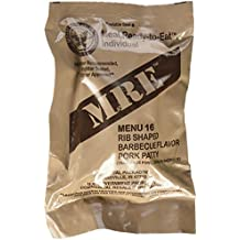 MRE (Meals Ready-to-Eat) Genuine US Military Surplus w/ Menu Selections, 16 Pork Rib