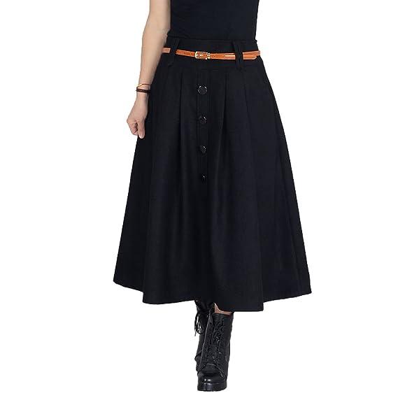 NiSeng Mujeres Vintage Falda Maxi Plisada con Botón A-Line Faldas ...