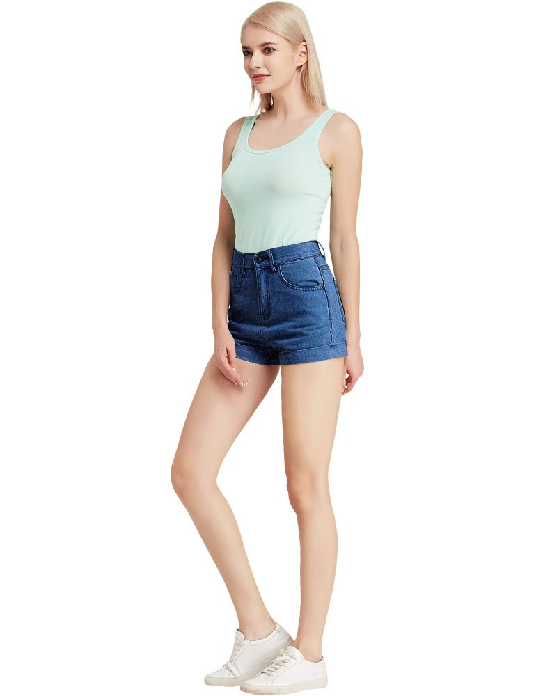 CUNLIN Women High Waisted Denim Shorts Fashion Summer Sexy Vintage Distressed Folded Hem Jeans Shorts Blue 25 by CUNLIN (Image #4)