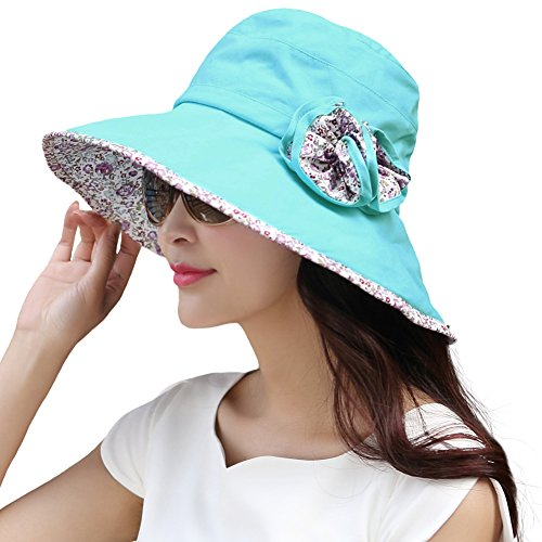 SIGGI Bucket Boonie Cord Fishing Beach Cap Summer Sun Hat Wide Brim for Women UPF50+ Blue ()