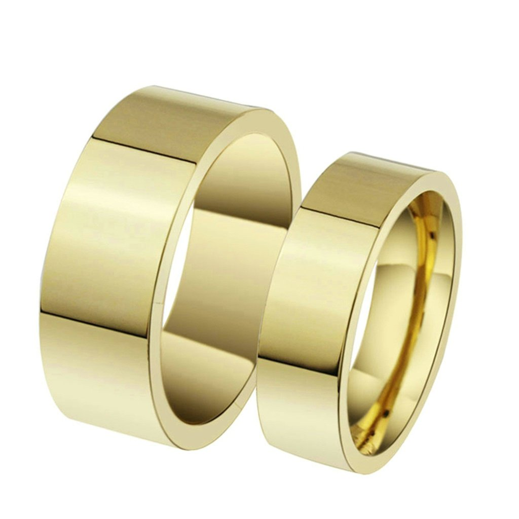 Epinki 4MM Stainless Steel Ring 18K Gold Plated Plain Design Classic Wedding Rings for Couple Size 8