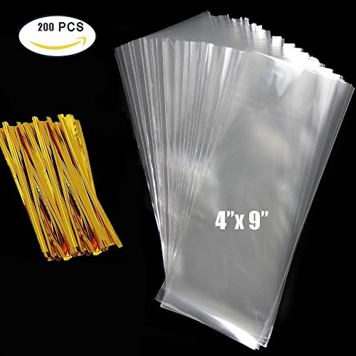 Favor Treat Bags (Cellophane Bag 200 PCS Clear Cello Treat Bags Party Favor Bags for Gift Bakery Cookies Candies Dessert with 200 PCS Metallic Twist Ties (4