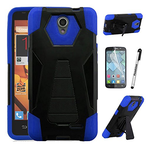 For Alcatel Raven Case, Phonelicious Shockproof [Military Drop Tested] w/Kickstand [Heavy Duty Case] Impact Resistant Cover with Screen Protector for Alcatel A574BL (BLUE)