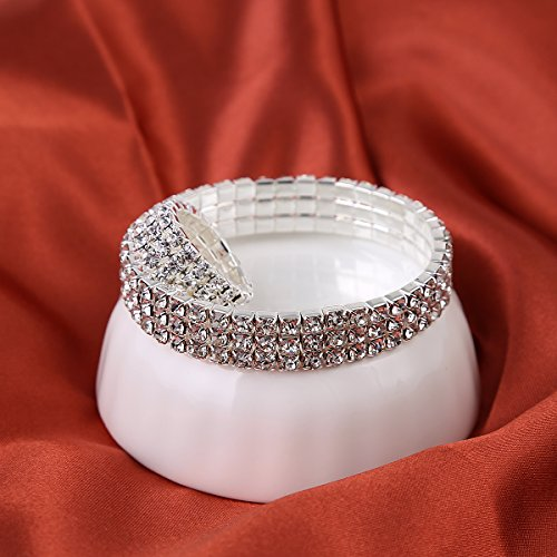 Miraculous Garden Women's 3-row Silver Plated Crystal Rhinestone Elestic Stretch Ring Bracelet Set Wedding Rings Tennis Bracelet for Mother's Day