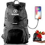 Totalpac Lightweight Hiking Travel Backpack Men & Women - Ultralight Packable Outdoor Back Pack Any Hike - Small Foldable Daypack USB Cable Charging Gear While Trave (Black)