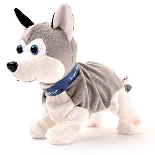 [Toy dogs that walk and bark Sound Control Interactive Robot Husky] (Lawn Gnome Dog Costume)