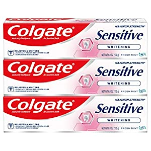 Best Epic Trends 51j5QtE39SL._SS300_ Colgate Sensitive Maximum Strength Whitening Toothpaste, Mint Gel - 6 Ounce (3 Count)