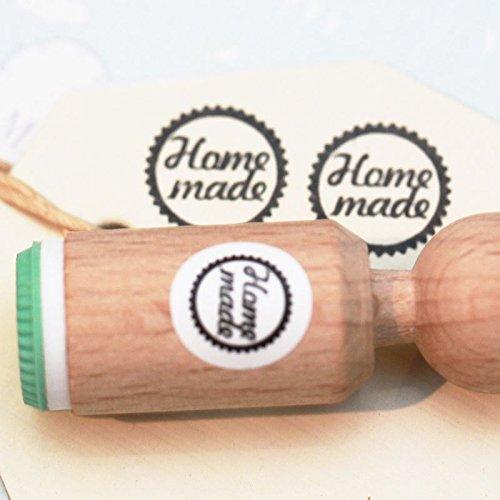 HOMEMADE Rubber Stamp Round - VERY MINI - Craft / Scrapbooking / Stamping