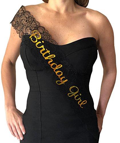 Birthday Girl Sash - Elegant Lace Sash for the Birthday Girl (Black & Gold)]()