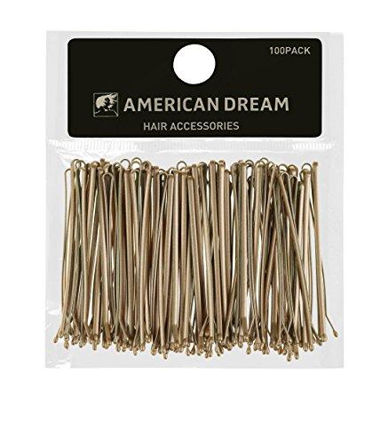 AMERICAN DREAM Pack of 100 x Haarnadeln - blond - glatt - 2.5 inch / 6.35 cm Länge, 1er Pack (1 x 124 g)