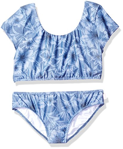 Seafolly Big Girls' Tropical Vacation Tie Back Tankini, Denimflor, 12 by Seafolly