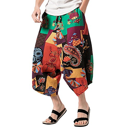 Clearance Sale Farjing Men's Floral Pattern Pants  Relaxed Pants Cross Pants  Wide pants (XL,Green ) -